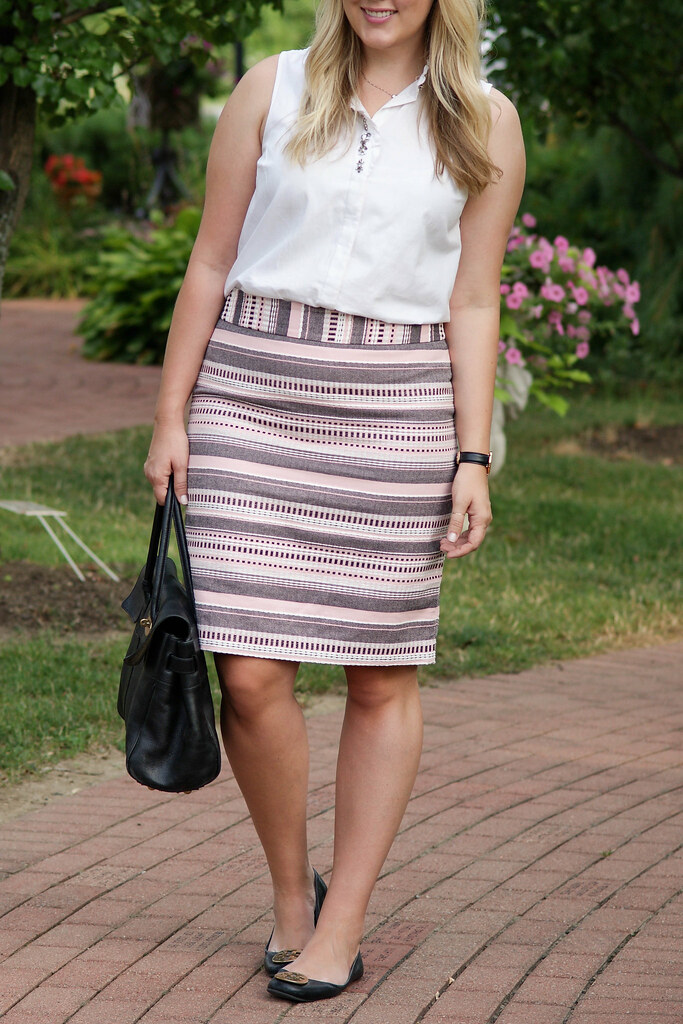 LOFT - Striped Jacquard Pencil Skirt