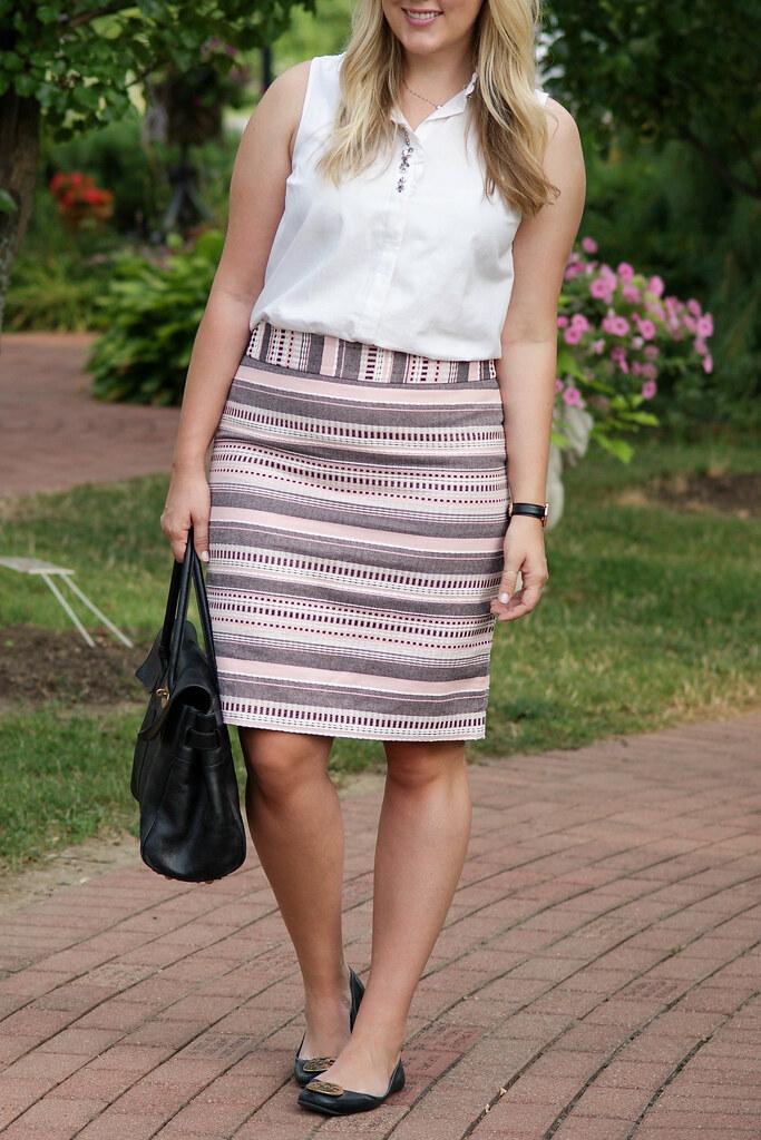 LOFT - Striped Jacquard Pencil Skirt