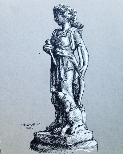 I finished up the Artemis statue sketch I started Sunday at Nathanael Greene Park.