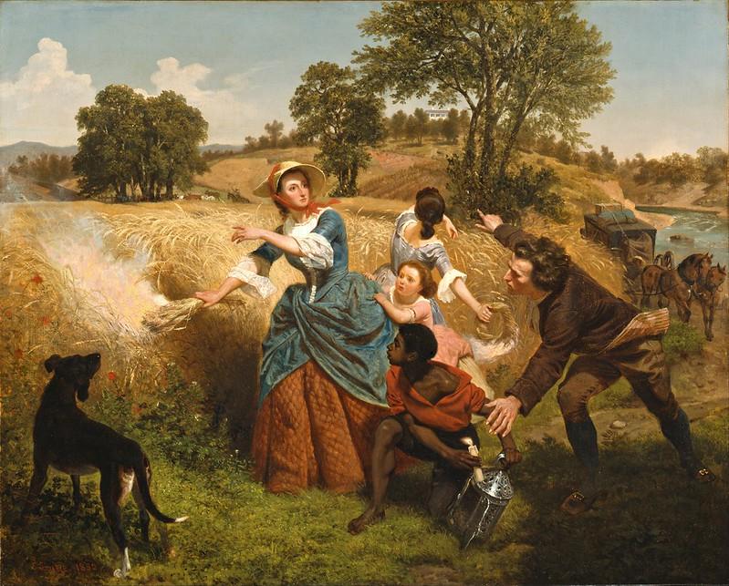 Emanuel Gottlieb Leutze - Mrs. Schuyler Burning Her Wheat Fields on the Approach of the British (1852)