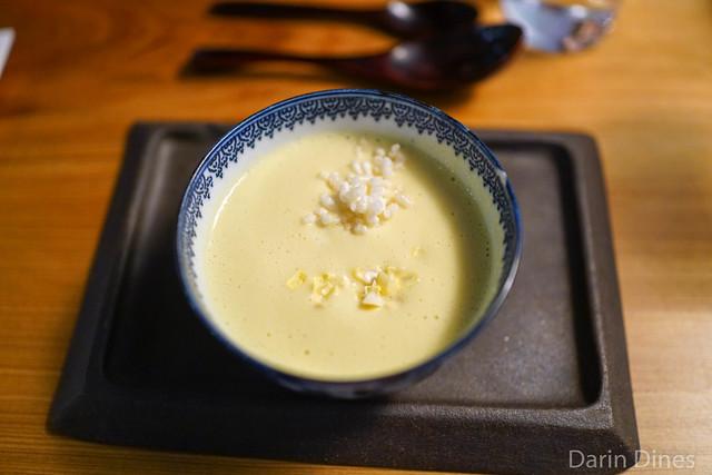 chilled corn soup, yuba, puffed rice