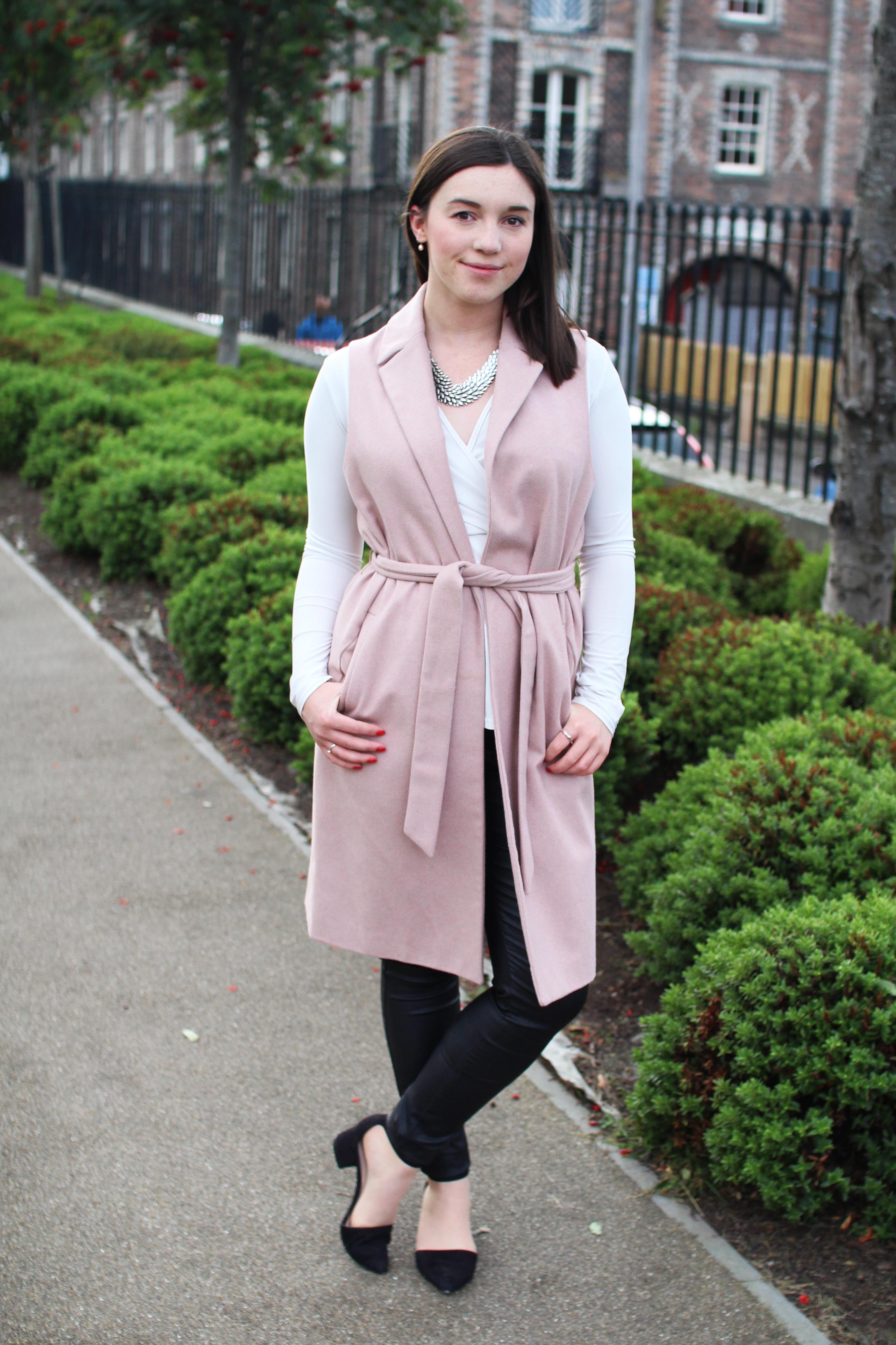 Pink sleeveless jacket trend UK fashion blogger The Little Things