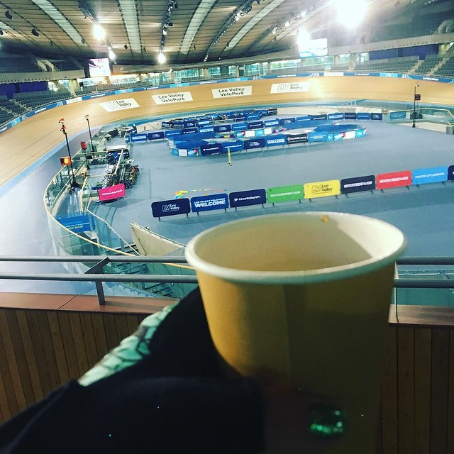When you're up before the sun but it's ok because it's #ride100 day and there's coffee #teamskoda #skodacycling #leevalleyvelopark #alturacycling