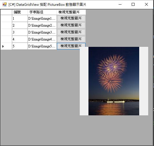 [C#] DataGridView 搭配 PictureBox 動態顯示圖片-3