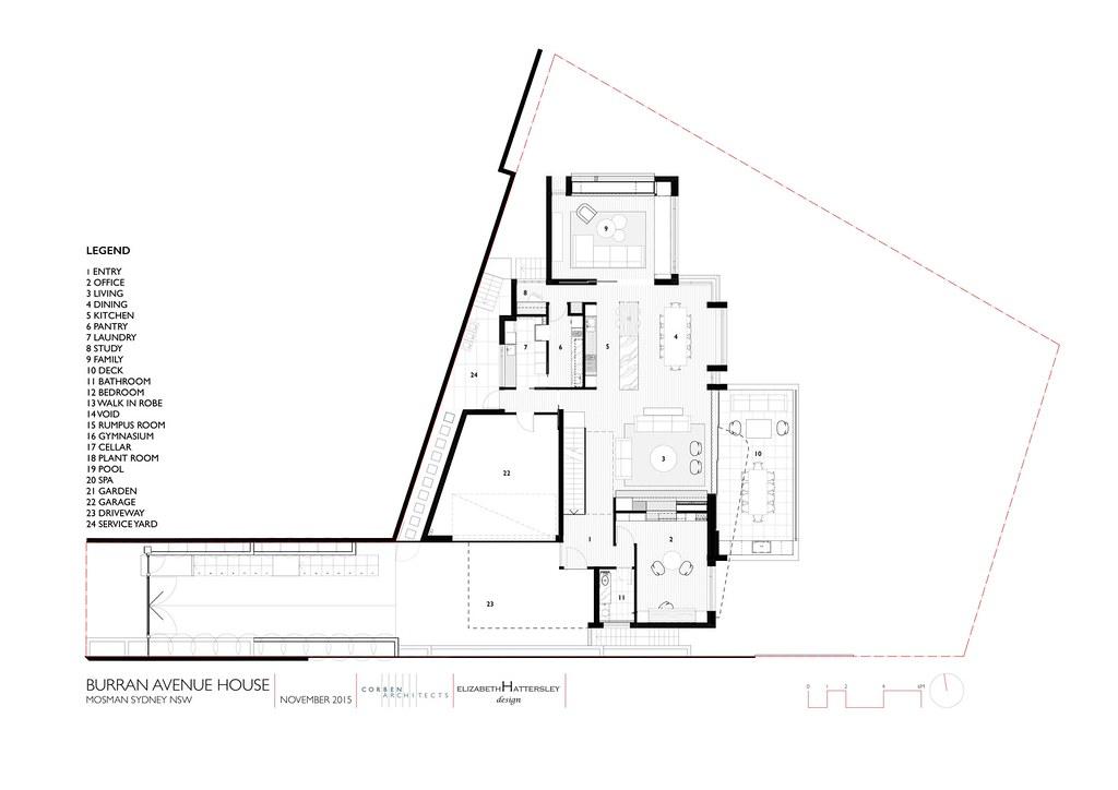 Трехэтажный дом в Сиднее. План второго этажа