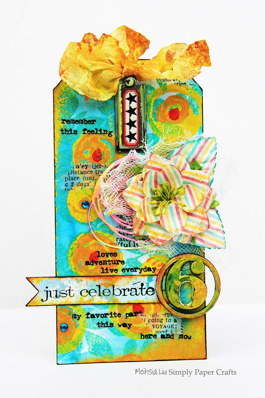 Meihsia Liu Simply paper Crafts Mixed Media Tag Celebrate Simon Says Stamp Monday Challenge