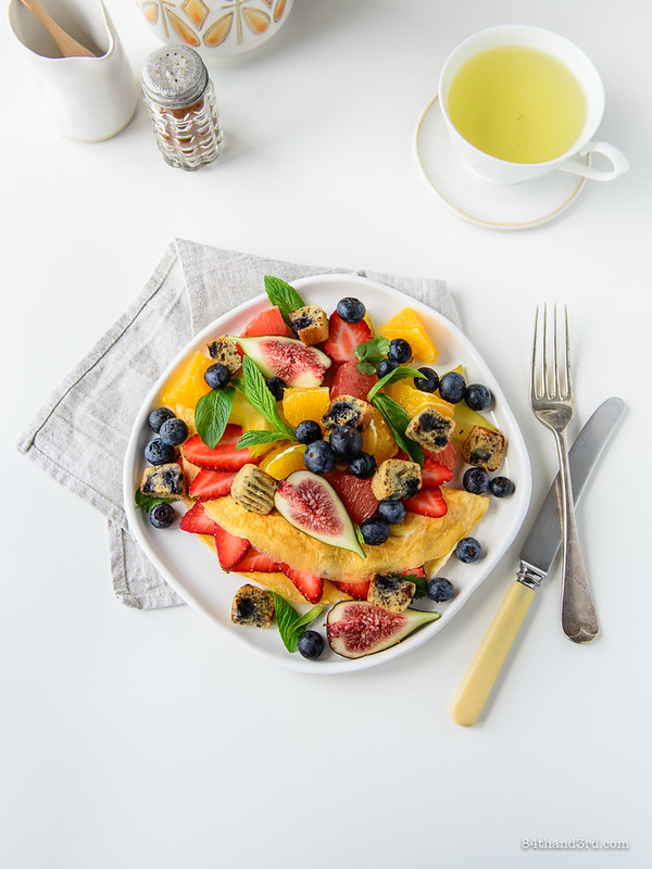 Fruit Omelette & Blueberry Muffin Croutons