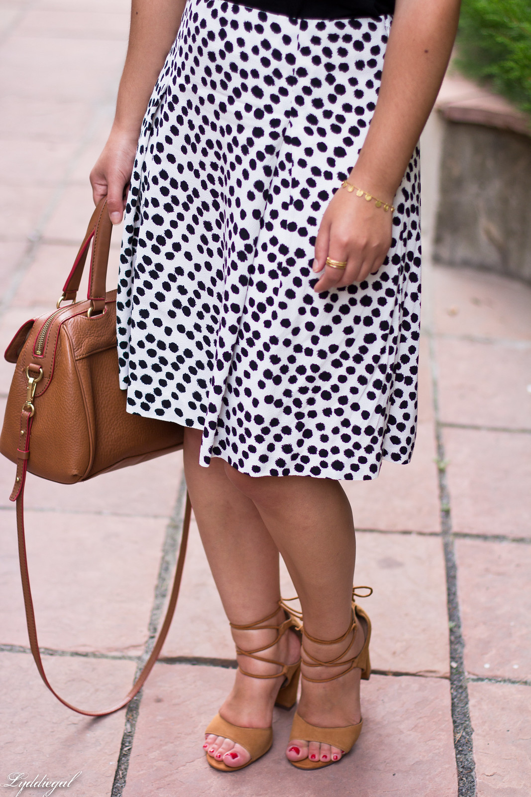 dalmatian print skirt, off the shoulder tee, lace up heels-9.jpg