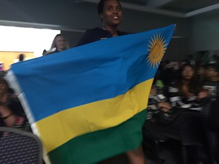 Marie Claire Murekatete with Rwanda flag, Technovation World Pitch Summit 2016
