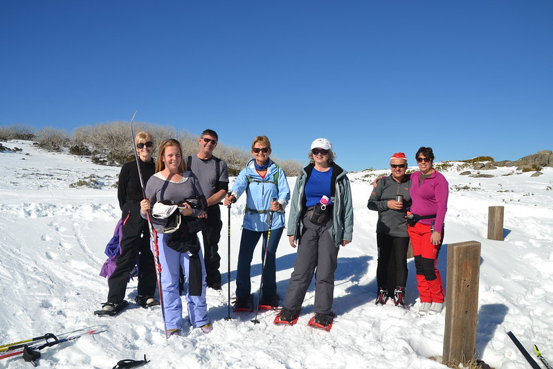 Skiers and snowshoers at Watchbed Creek