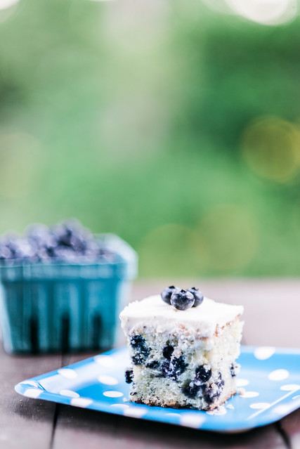 Blueberry zucchini cake with lemon frosting.