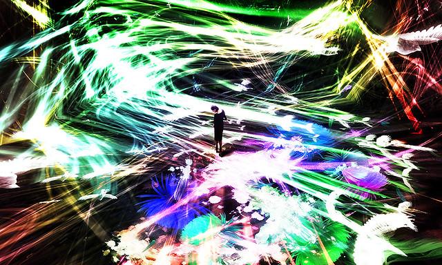 チームラボ|《追われるカラス、追うカラスも追われるカラス、そして衝突して咲いていく – Light in Space》|2016年|インタラクティブ・デジタル・インスタレーション|4分20秒|サウンド:高橋英明
