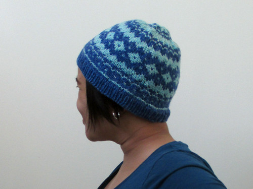 Blue and white ski hat