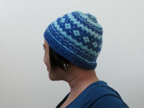 Blue and white ski hat