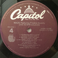MAZE FEATURING FRANKIE BEVERLY:LIVE IN NEW ORLEANS(LABEL SIDE-B)