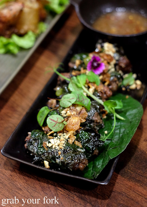 Bo la lot char grilled betel leaf rolled with lemongrass minced wagyu beef at the Angie Hong dinner pop-up at White Taro in Surry Hills Sydney