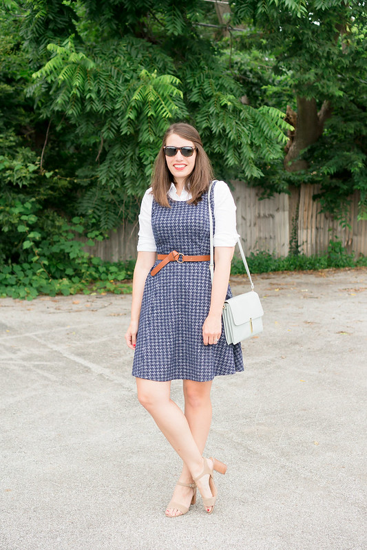 navy dress + white button down blouse underneath + knot belt + Sole Society block heel sandals | Style On Target blog