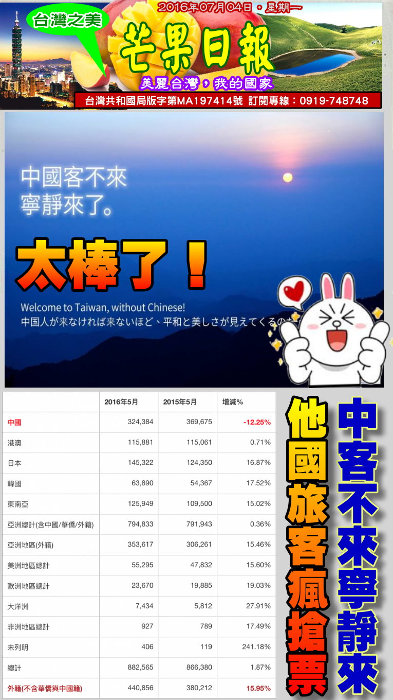 160704芒果日報--台灣之美--中國客不來台灣,他國客搶票享受