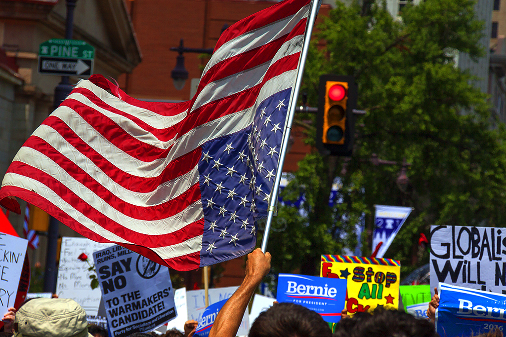 Bernie supporters on 7-25-16--South Broad 5