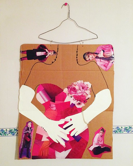 """Early Liz collage work. It used to have jewelry hanging off of it. """"But Eddie, is it Art?"""""""