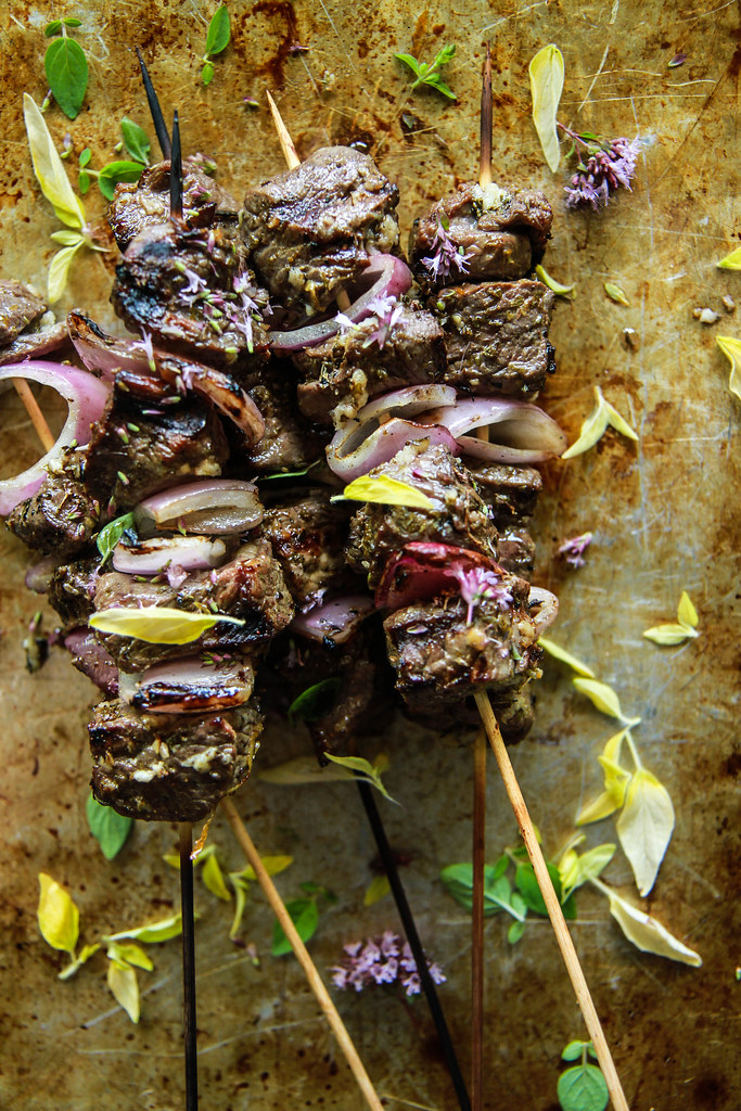 Greek Lamb Skewers with Village Salad from HeatherChristo.com