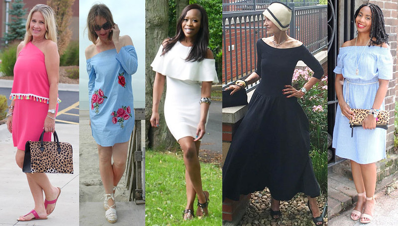 Fashion bloggers in cold shoulder and off the shoulder tops and dresses #iwillwearwhatilike