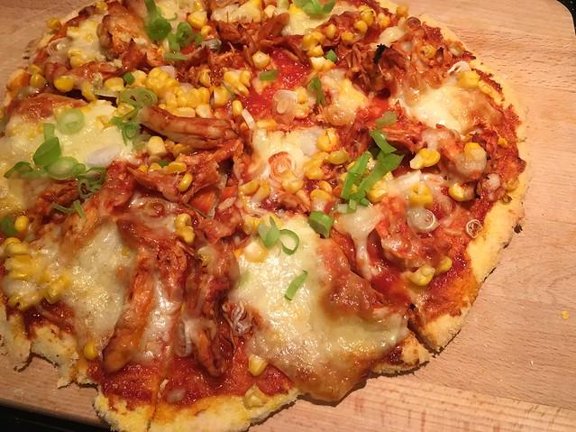 BBQ chicken pizza with Minimalist Baker's gluten-free pizza crust