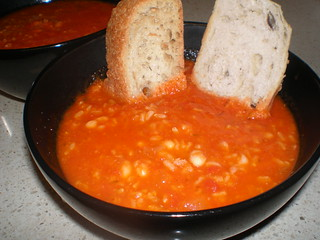 Tomato-Rice Soup with Roasted Garlic and Navy Beans
