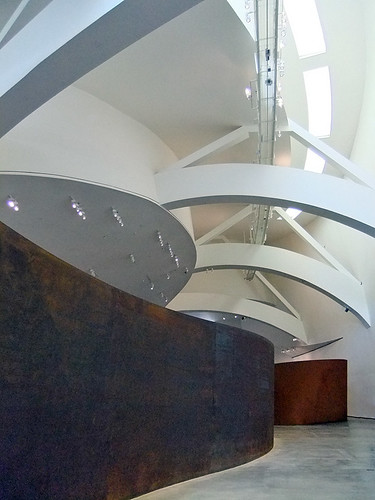 Richard Serra's sculpture 'Matter of Time', custom-built for the Guggenheim modern art museum in Bilbao, Spain