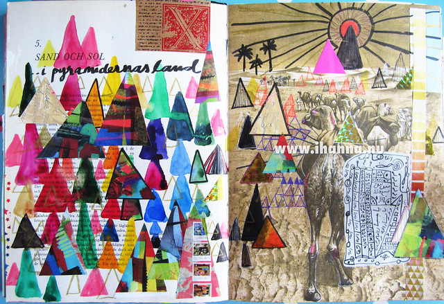 The Art Journal Spread: Painting triangles (or seeing Pyramids and Camels) painted by iHanna