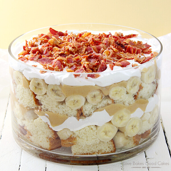 Elvis Trifle with Bacon in a clear bowl.