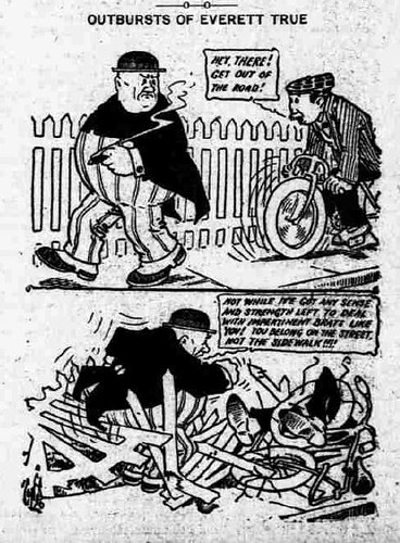 Outbursts of Everett True - cyclist on sidewalk