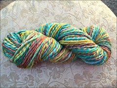 Turquoise and Coral handspun