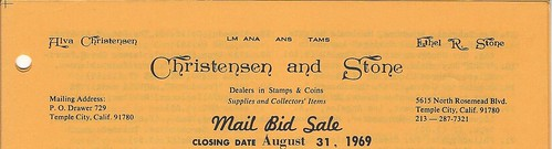 Christensen and Stone 1969 mail bid sale